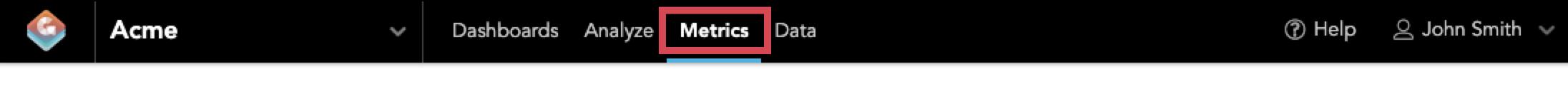 Metrics tab