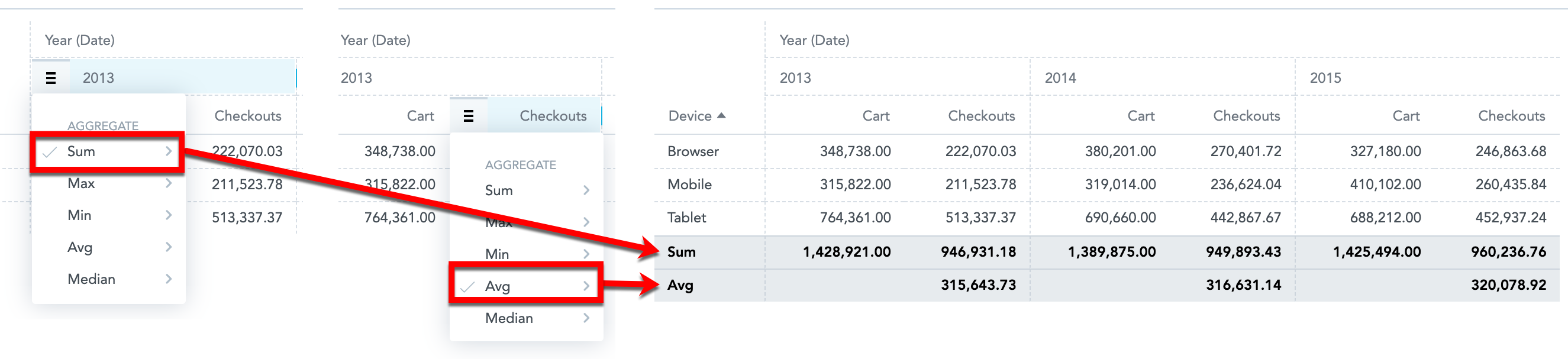 table totals function
