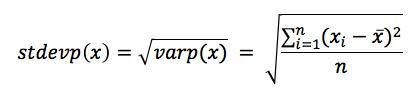 Equation - Standard Deviation for Populations